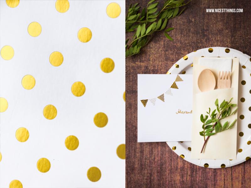 Pappteller mit goldenen Punkten als Geschenkverpackung für Restaurantgutschein