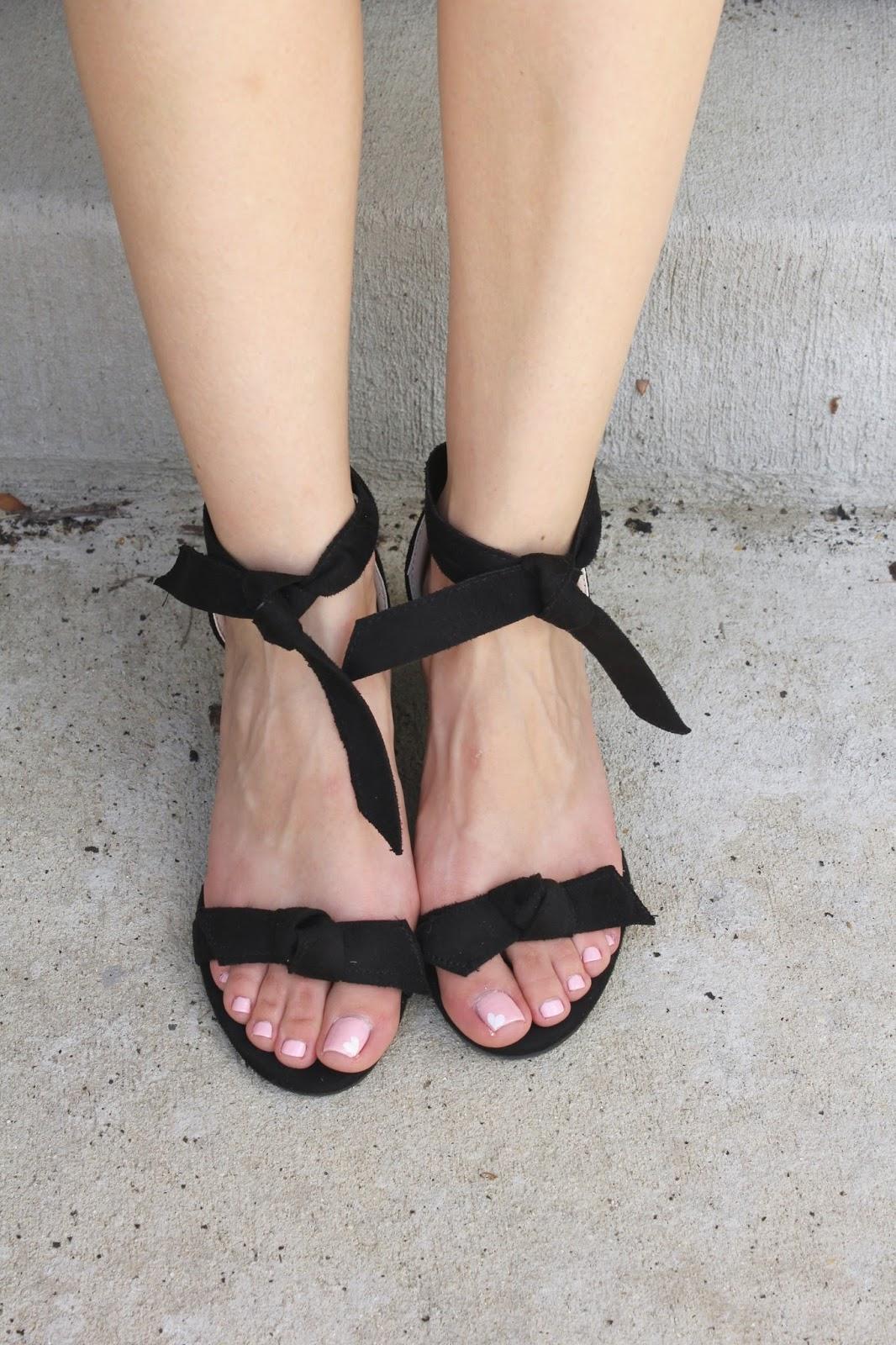 Black Tie Front Block Heels