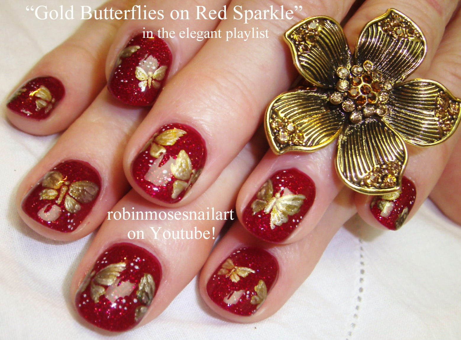 Nail Art by Robin Moses: gold butterfly nail art, silver and mint ...