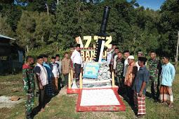 Pos Wamsisi SSK I Berikan Tugu Sangkur Raider Tanda Mata ke Desa Waelikut
