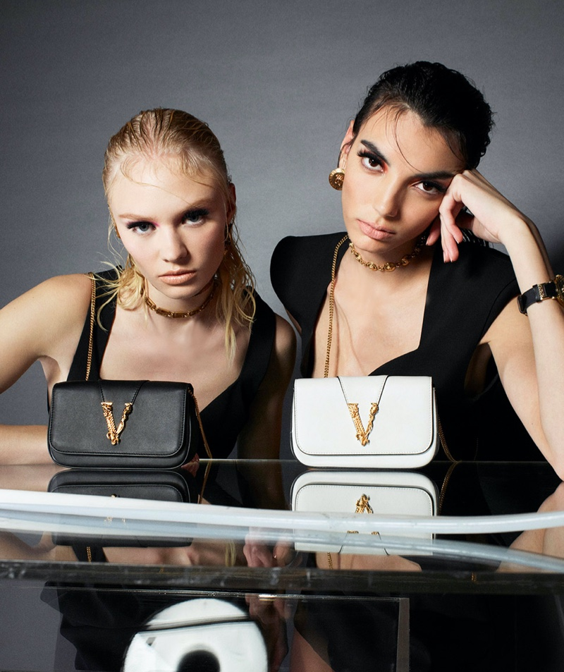 Vilma Sjöberg and Cynthia Arrebola star in Versace Virtus handbag summer 2020 campaign