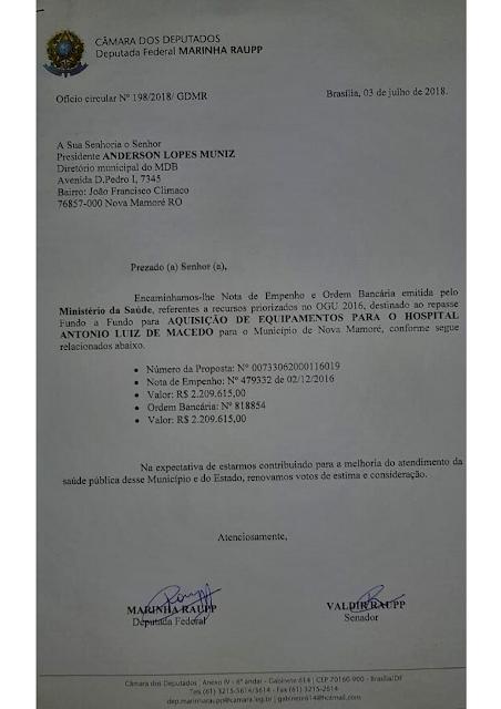 empenho da deputada federal marinha raupp para Nova Mamoré - RO
