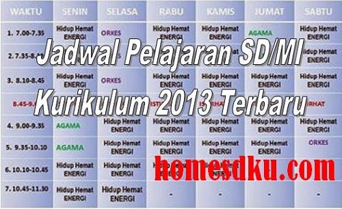 Jadwal Pelajaran SD/MI Kurikulum 2013 Terbaru