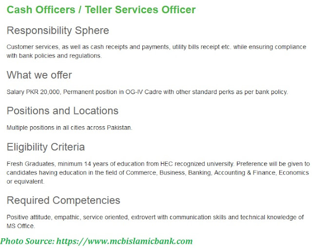 Muslim Commercial Islamic Bank Jobs 2021 -  Apply Online for Latest Cash Officer Jobs 2021