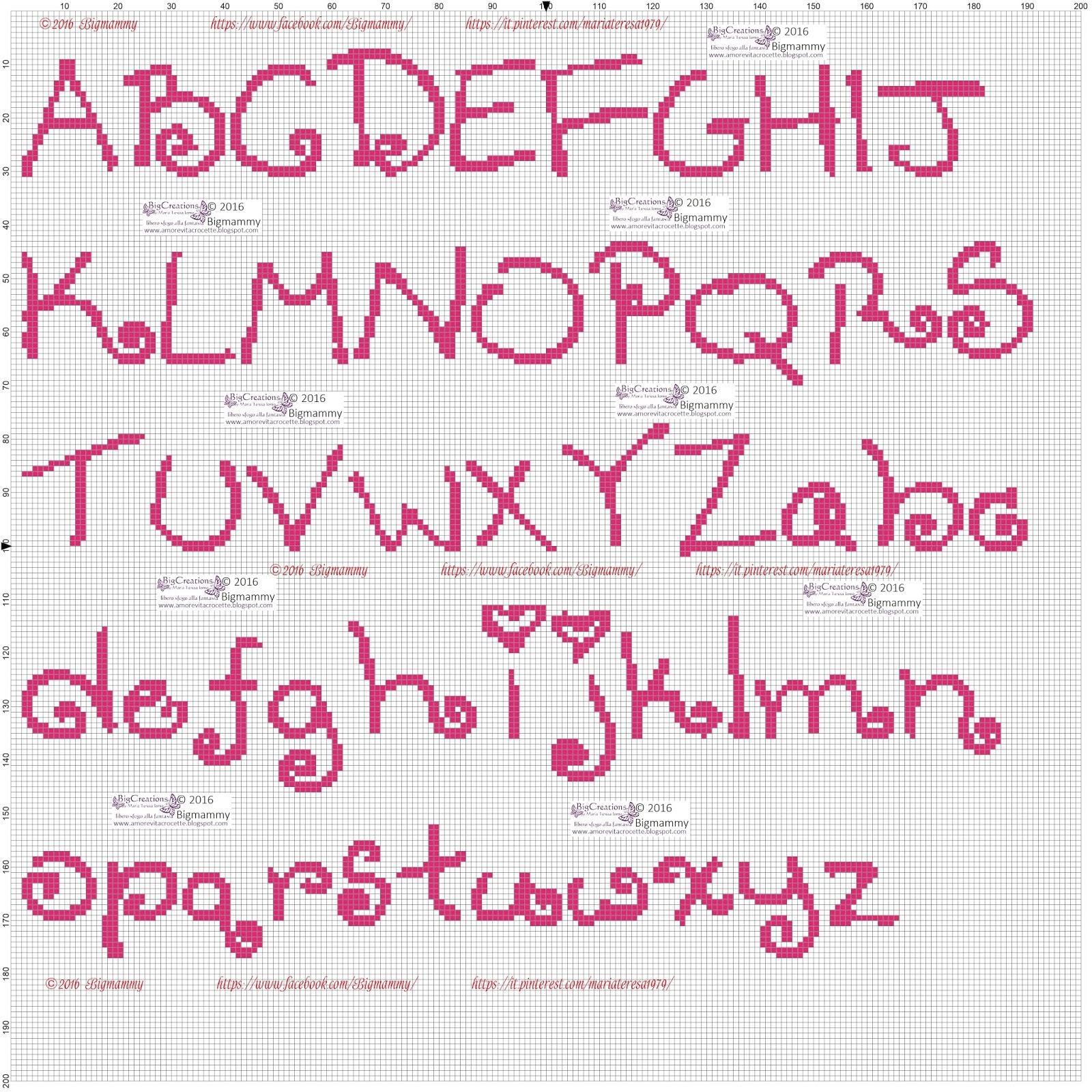 Amorevitacrocette ancora tanti alfabeti a punto croce for Ricamo punto croce alfabeto