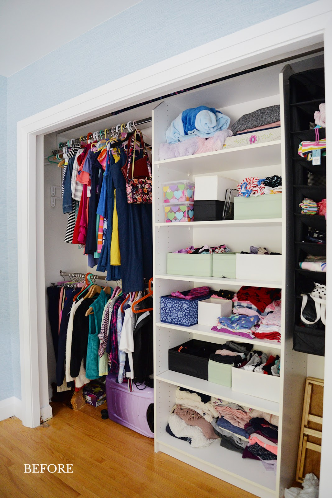 Keep your kid's clothes organized with the right closet system. We've used the IKEA PAX system to create our own built in DIY kids closet. Here's tips for kids closet organization, organization ideas for girls, and how to maximize storage in a small closet.