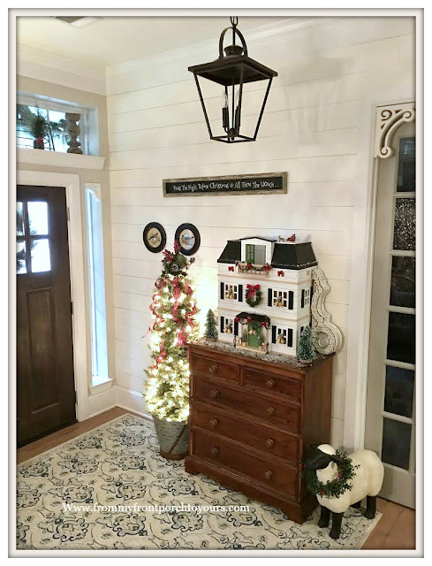 Christmas-Foyer-Farmhouse Style-Cottage Style-DIY-Shiplap-Christmas Tree-Doll House-From My Front Porch To Yours