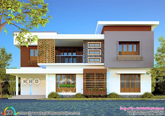 Modern double storied house rendering