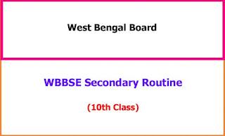 West Bengal Madyamik/10th Pariksha Time Table