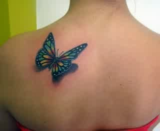 3D Butterfly Tattoo On Upper Back