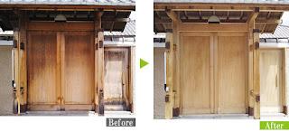 カビ/日焼け汚れの数寄屋門にG-Ecoシリーズ環境対応型洗浄剤カビ・ヤニ使用