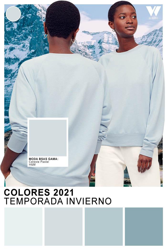 Celeste pastel gama colores de moda otoño invierno 2021