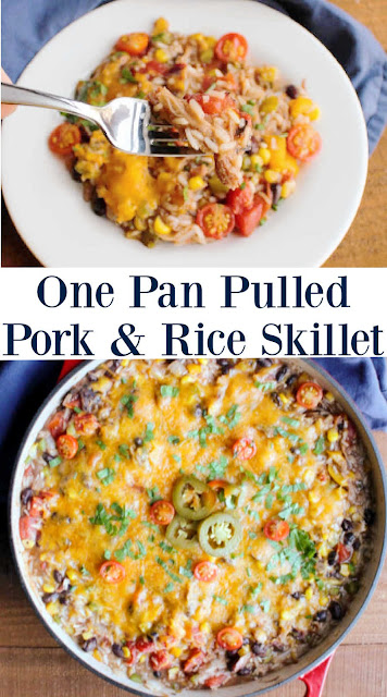 Turn leftover pulled pork into a whole new dinner! This one pan skillet dinner is loaded with rice, flavor, bbq and pork. It's filling, flavorful and easy!