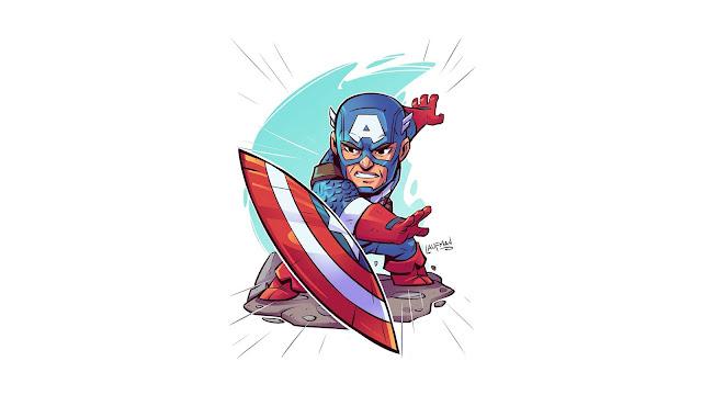 Papel de Parede Minimalismo Capitão América