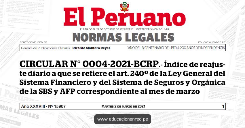 CIRCULAR N° 0004-2021-BCRP.- Índice de reajuste diario a que se refiere el art. 240º de la Ley General del Sistema Financiero y del Sistema de Seguros y Orgánica de la SBS y AFP correspondiente al mes de marzo