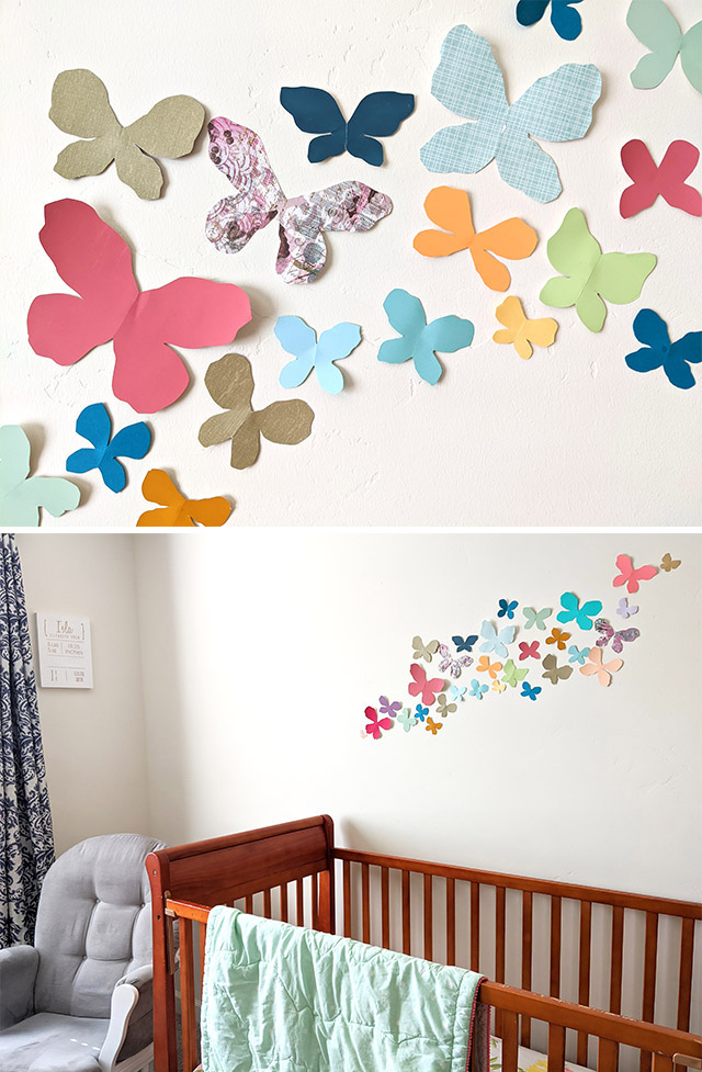 Make fun girly butterfly nursery decor with colorful paper!