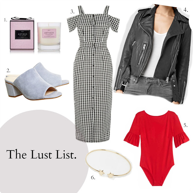 Warehouse black and white gingham dress, Red flared sleeve body from H&M, Pastel Blue mules from Office, Balfern Leather jacket from Allsaints, Antigua scented candle from Next. Orelia open star bangle from ASOS