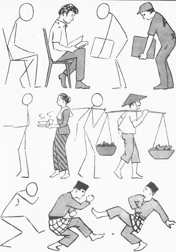 Cara Teknik Menggambar Variasi Sikap Gerak Belajar Menggambar