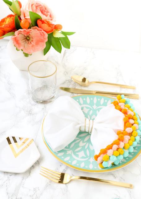 Put a pom pom on it - Easy DIY pom pom trim napkins with gold napkin ring - Home Decor - pom poms - Quick craft