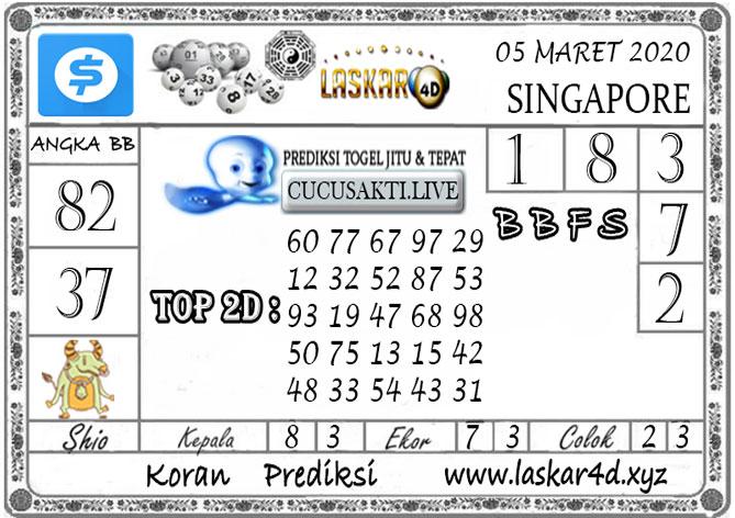 Prediksi Togel SINGAPORE LASKAR4D 05 MARET 2020