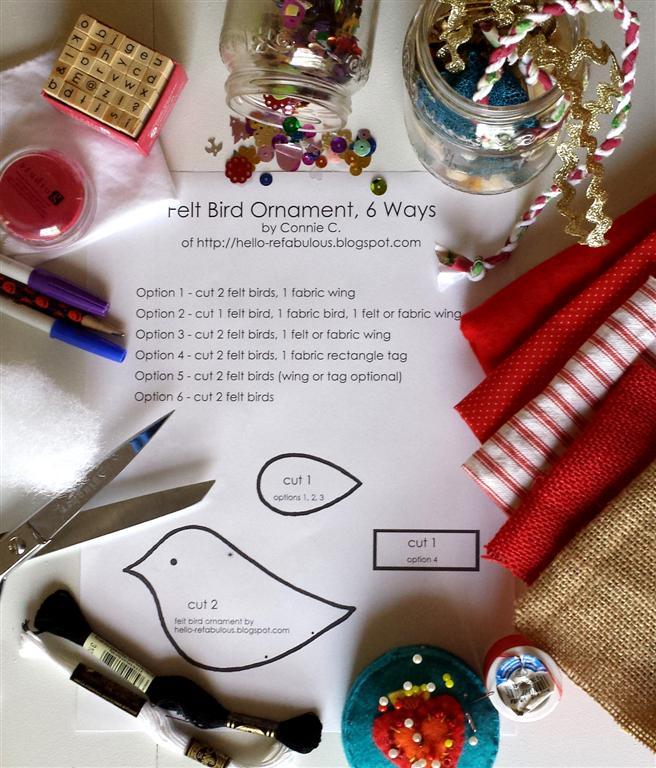 Artesanato fornecimentos para feltro pássaro enfeites de Natal, tutorial e free DIY padrão por refabulous, scrapbuster