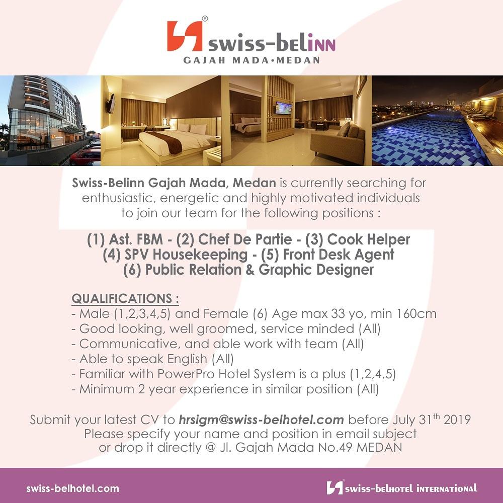 Lowongan Kerja Teraru Di Swiss Bellin Hotel Medan Juli 2019