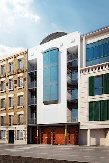Perspective 3d mosquée centre islamique façade sur rue