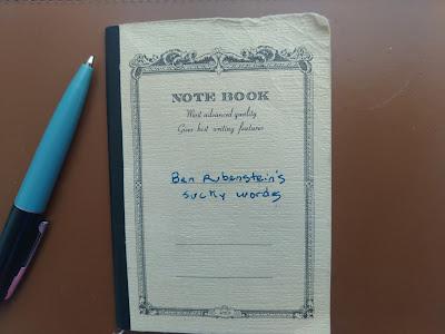 """Benjamin Rubenstein's pocket-size notebook he calls his """"Sucky Words"""""""