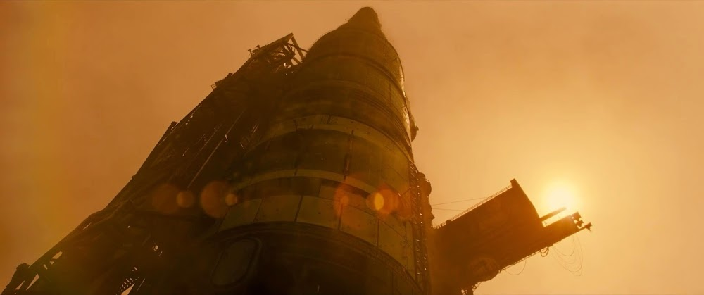 Rocket standing at launch pad on Mars - image from Ad Astra movie