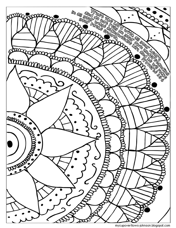 My Cup Overflows: Trust the Lord Coloring Page
