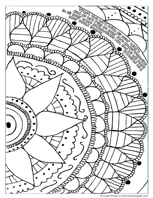 doodle drawing with Proverbs 3:5-6 on adult coloring page