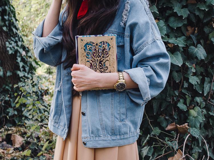 fashion blogger diyorasnotes autumn denim jacket midi skirt hat%2B%252823%2B%25D0%25B8%25D0%25B7%2B24%2529 - RED LIPS, BANDANA AND MIDI SKIRT