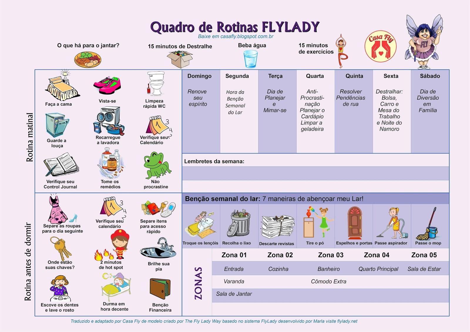Calendario Flylady.Tabela De Rotinas Flylady Casa Fly