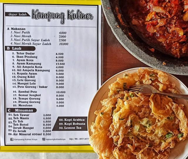 harga menu di kampung kuliner kroya