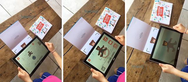 Utilisation par une petite fille de l'appli Blink Book pour animer son coloriage