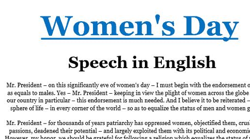 Women day speech in English pakistan college school church