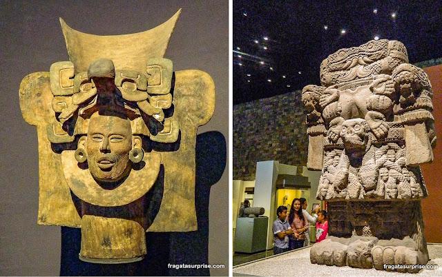 Peças asteca e zapoteca no Museu Nacional de Antropologia do México