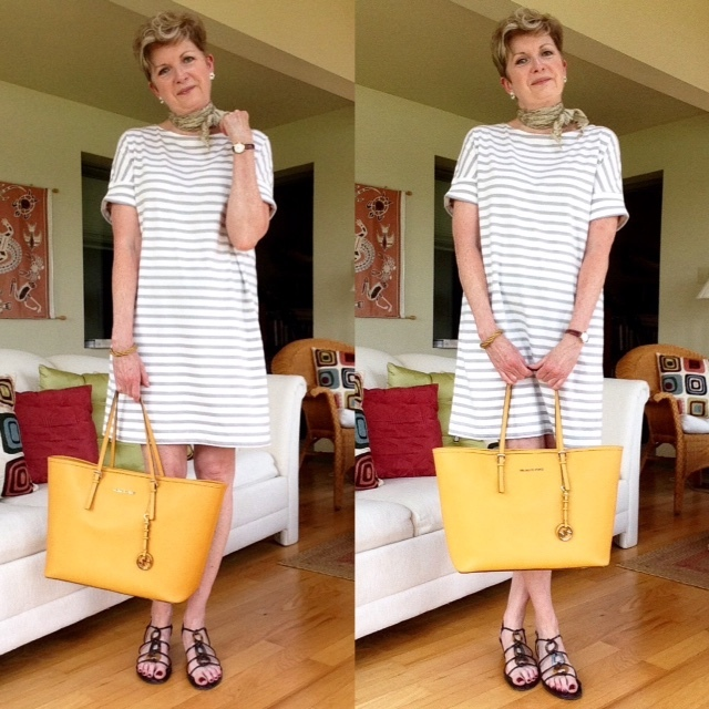 Dress from Aritzia, sandals Stuart Weitzman, bag Michael Kors, earrings from Magpie Jewellry, silk scarf Holt Renfrew