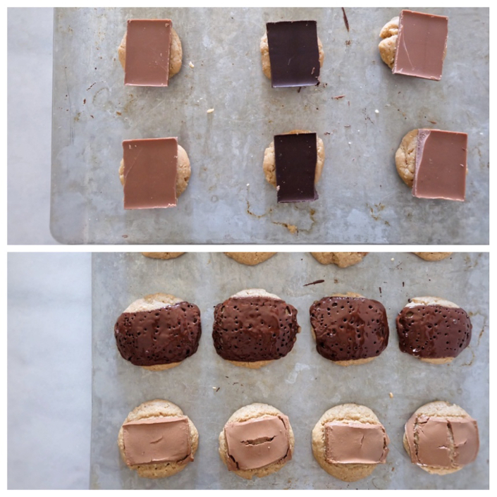 adding chocolate to cookie tops and baking
