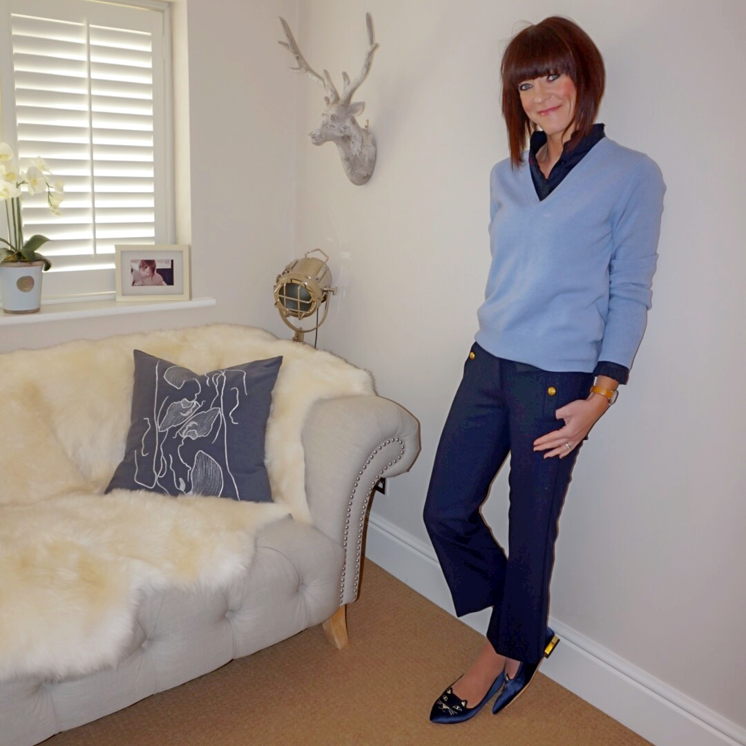 my midlife fashion, uniqlo frill high collar blouse, marks and spencer pure cashmere ribber v neck jumper, jcrew cropped military trousers, charlotte olympia kitty face flats