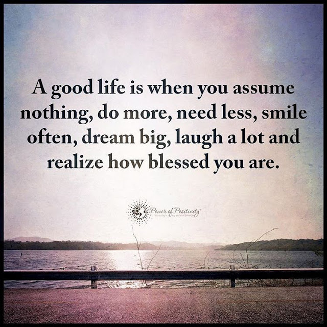 A good life is when you assume nothing, do more, need less, smile often, dream big, laugh a lot and realize how blessed you are. quotes