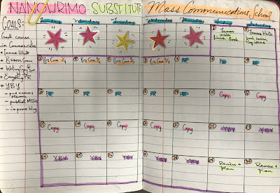 monthly spread for a nanowrimo challenge adapted for learning mass communications skills