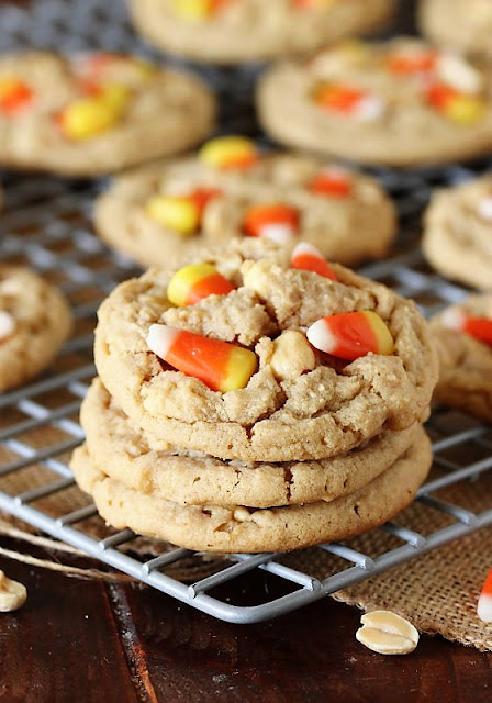 Stack of Peanut Butter Candy Corn Cookies Image