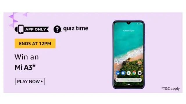 Amazon Quiz Answers For Today 10th June 2020 - Win MI A3