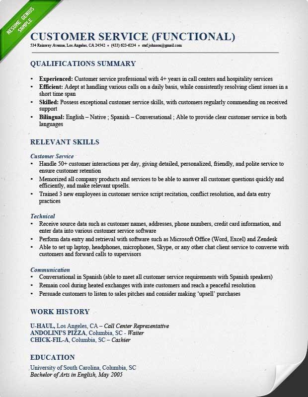 Sample of Customer Service Resume Sample Resumes