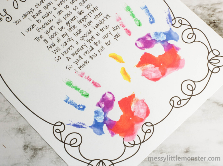 Handprint Poem for Mother's Day Card
