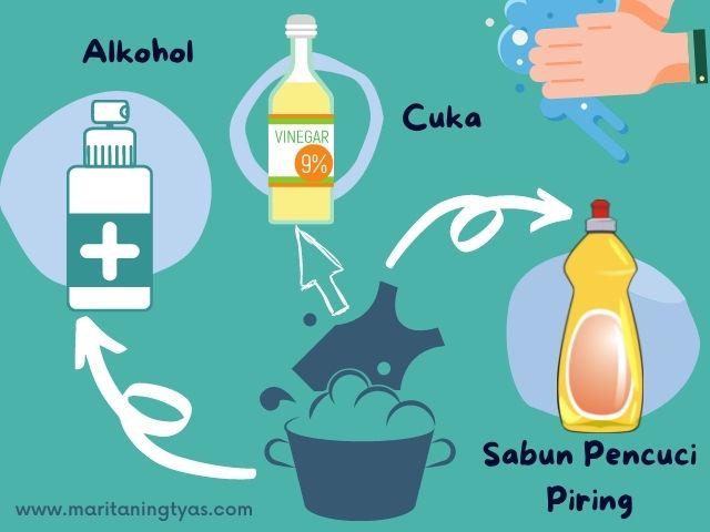 menghilangkan minyak dengan alkohol, cuka dan sabun pencuci piring