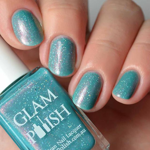teal shimmer nail polish