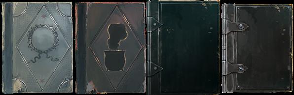 """Da sinistra a destra: """"Storia della Magia"""" di Bathilda Bath, """"Infusi e Pozioni Magiche"""" di Arsenius Brodus, """"Le Forze Oscure: guida all'auto-protezione"""" di Dante Tremante, """"Teoria della Magia"""" di Adalbert Incant."""