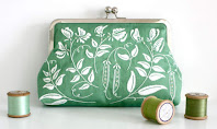 Green embroidered purse by Ann's Orchard